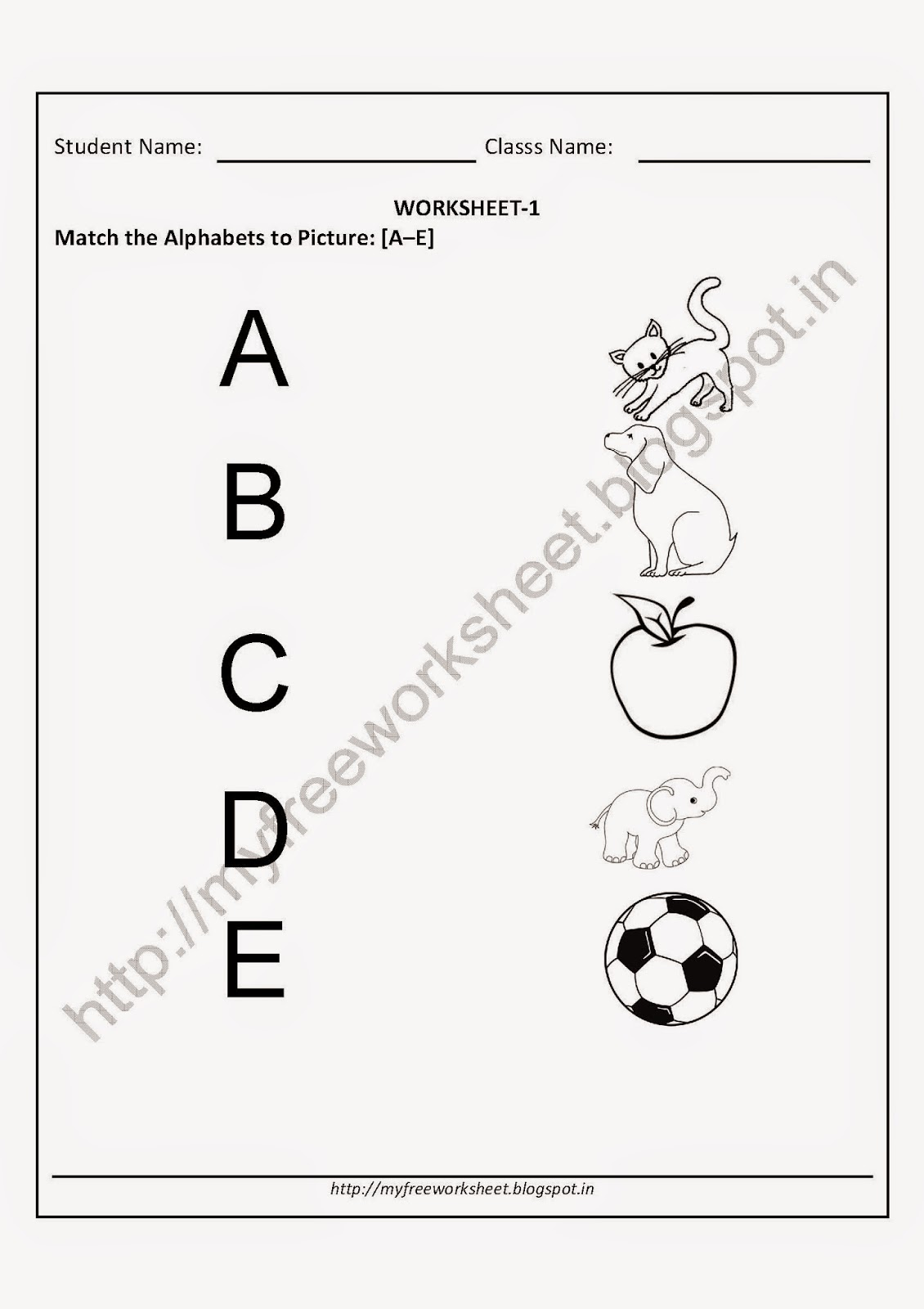 Match the Alphabet to Picture Worksheets for Nursery children free ...