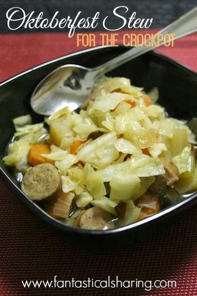 Oktoberfest Stew | A hearty stew with veggies and brats and Oktoberfest beer