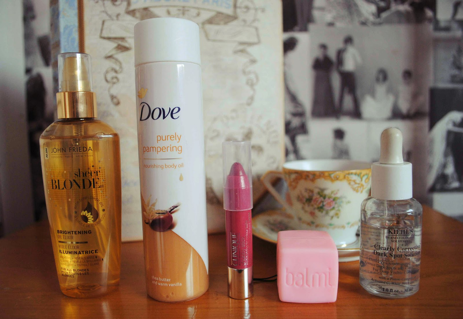 beauty edit favourites john frieda sheer blonde dove body oil clinique chubby stick balmi kheil's dark spot solution review