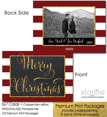 http://starwedd.com/product/christmas-photo-card-boho-chic-stripes-chalkboard-gold-glitter-printable-or-printed/