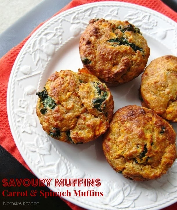 Savoury Carrot and Spinach Muffins from Nomsies Kitchen