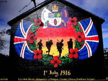 A mural in Bangor, Co. Down, remembering the 36th (Ulster) Division that fought in the Battle of the Somme.