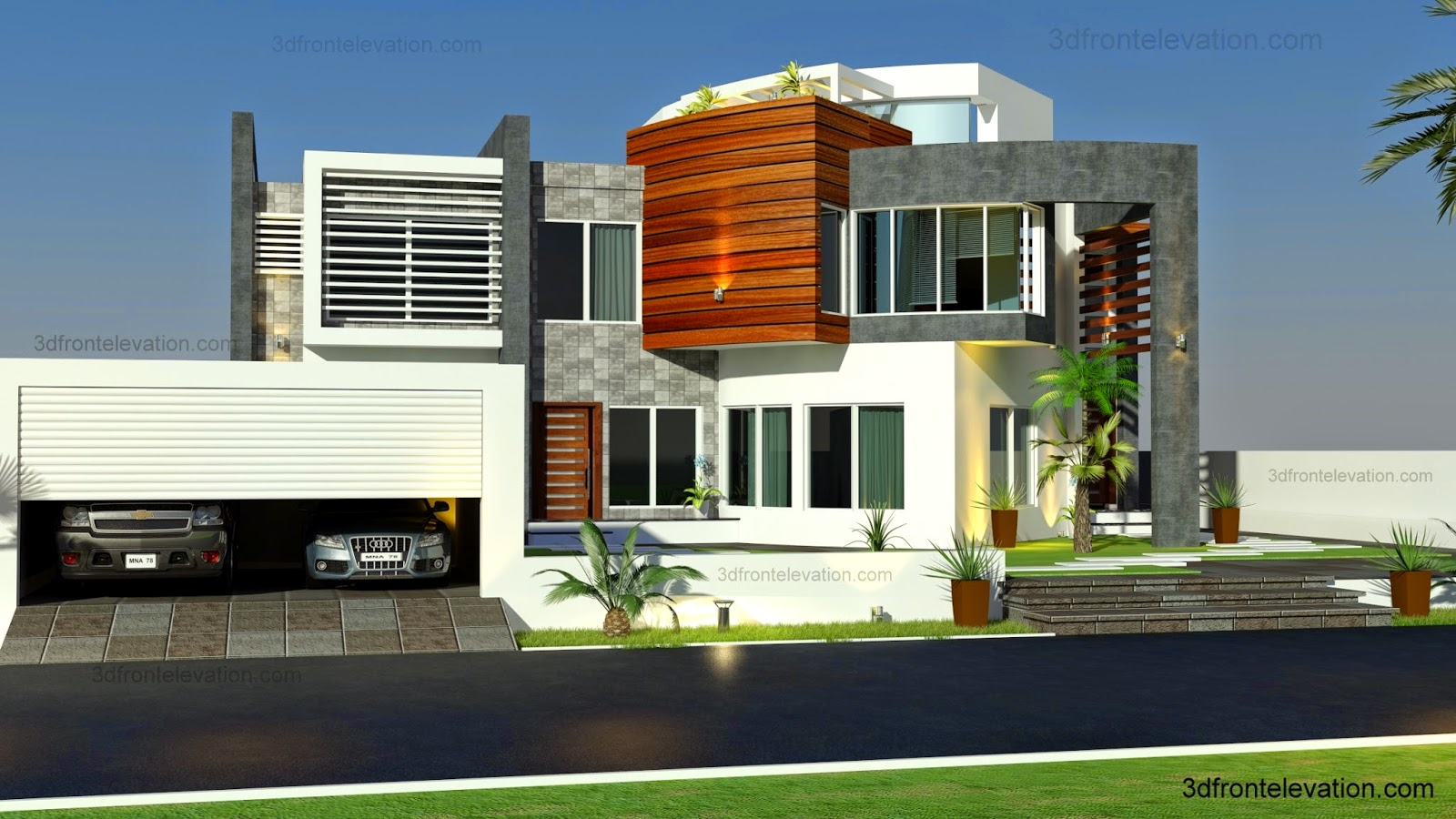 3d front oman modern contemporary villa 3d for Villa architecture design plans