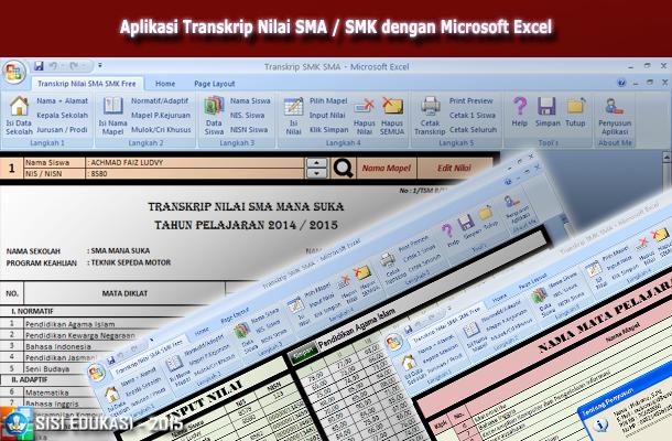 Aplikasi Transkrip Nilai Siswa SMA / SMK dengan Microsoft Excel