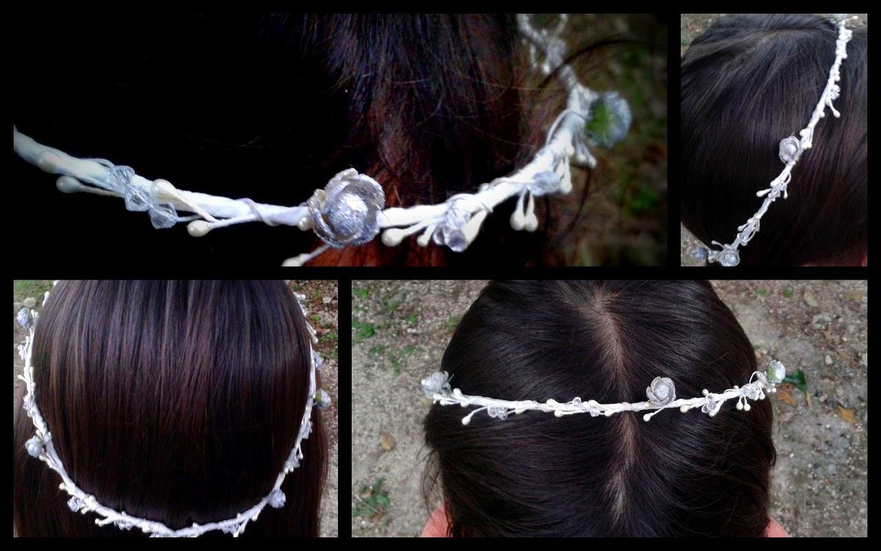 para realizar estas coronas necesite alambre flores de papel pintura de uas varitas aperladas y cinta para floristas