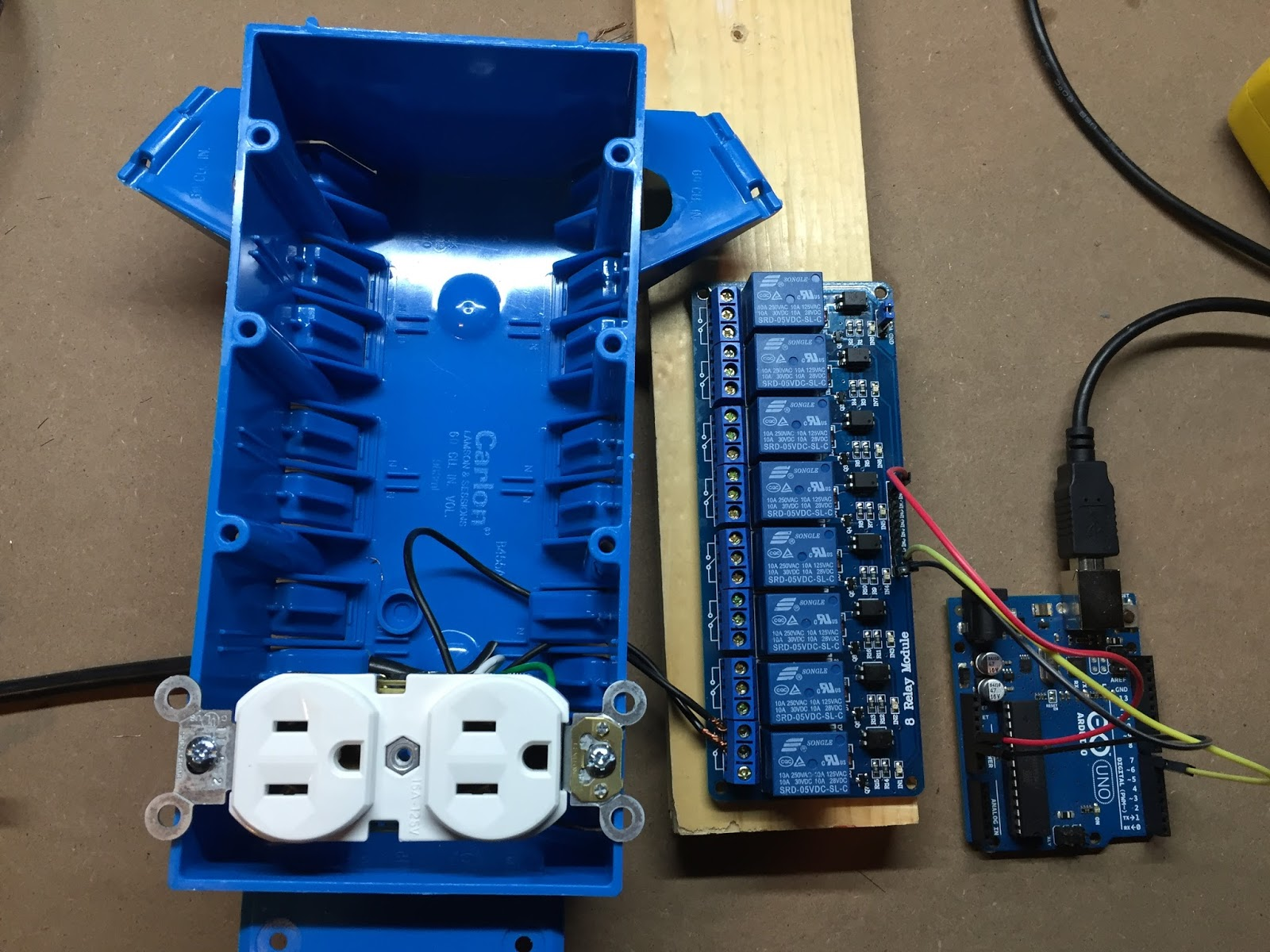 Arduino Relay Outlet Thejoestory Tech Wiring A Module Hot Wire Black From Power Cord Is Wired To Common Middle Terminal On The