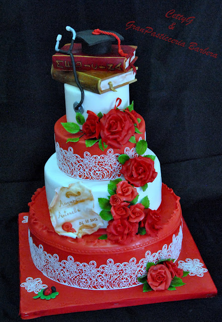 Favoloso Le torte decorate di Cetty G: Laurea in medicinacon pizzi e rose! XQ64