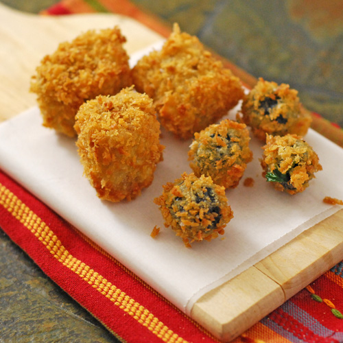 deep fried tamale bites, deep fried olives