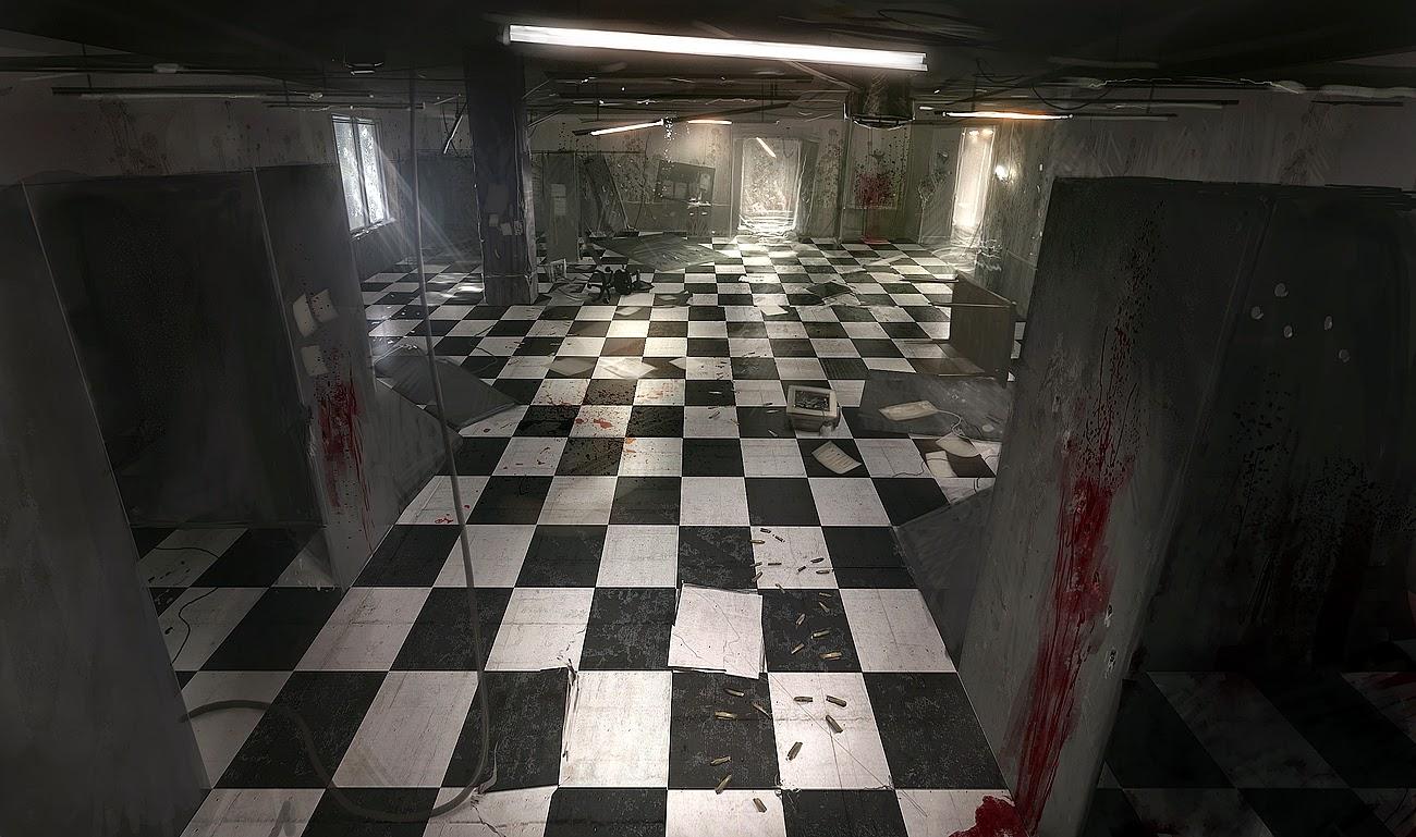 Imagen de una sala u oficina sombría, donde hay destrucción, paredes y pisos manchados de sangre y agujeros de bala en las paredes