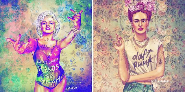 fab ciraolo marilyn monroe frida kahlo hipster ilustracion