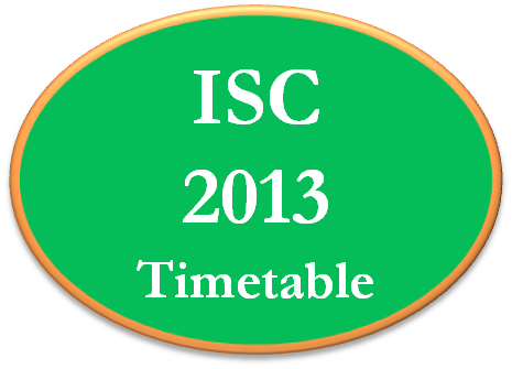 ISC 12th 2013 Exam Timetable Datasheet