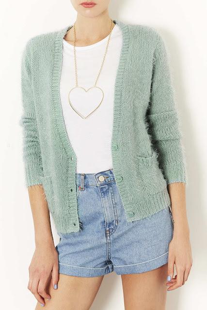 mint coloured cardigan
