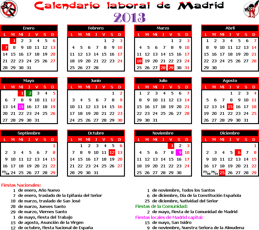Gatos sindicales mad calendario laboral 2013 madrid for Calendario eventos madrid