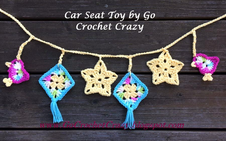 Crochet Car Seat Toy by Go Crochet Crazy with free crochet bird pattern