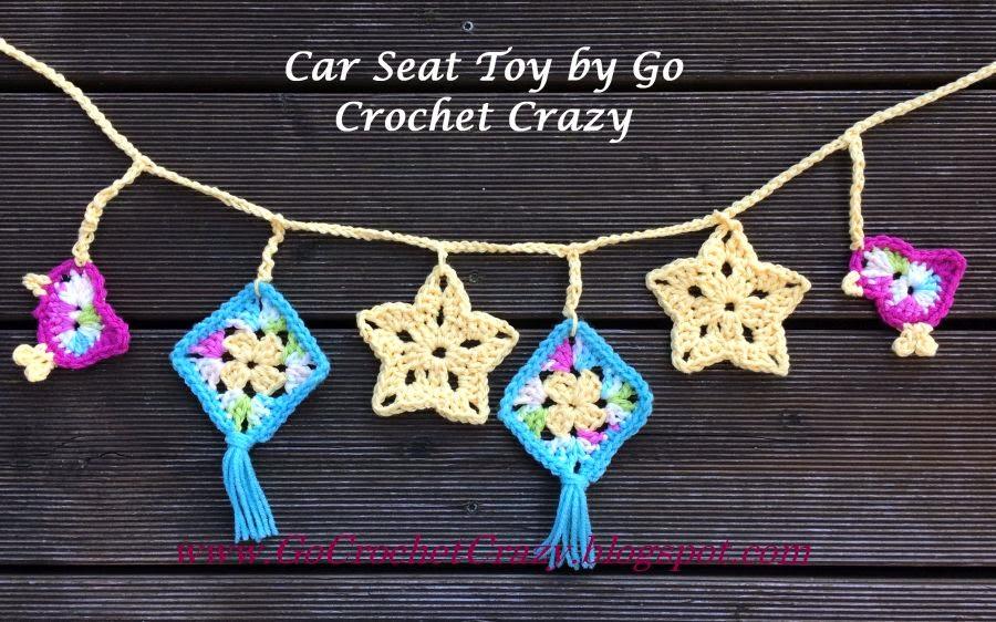 Crochet Car Seat Toy by Go Crochet Crazy with free crochet bird pattern