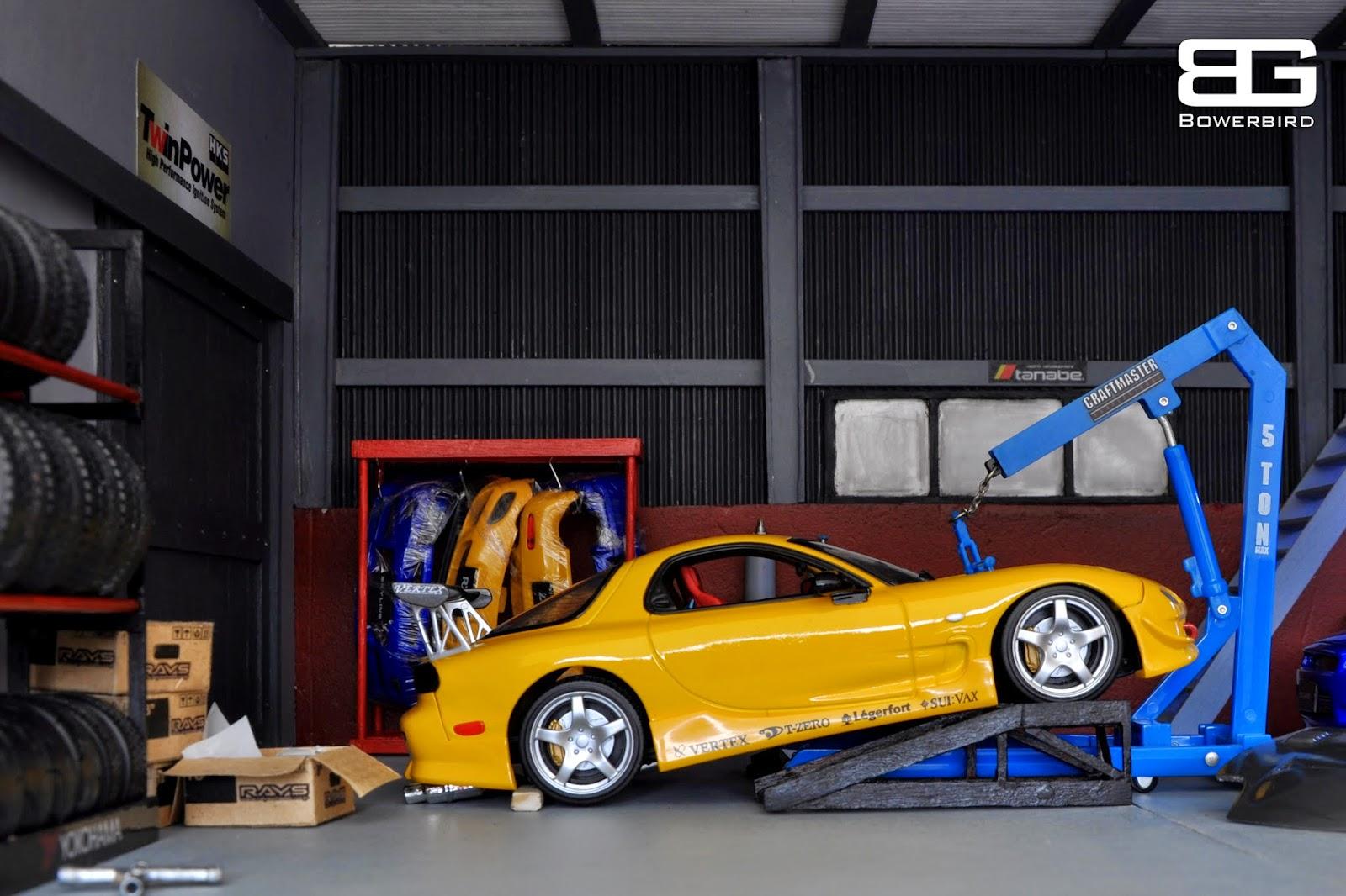 Bowerbird garage diorama bowerbird garage jdm cars for Garage credit auto 0