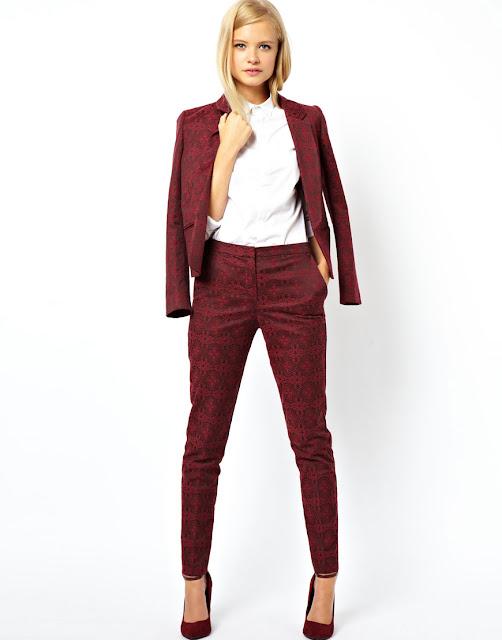 jacquard trouser suit