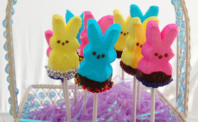 Chocolate Dipped Peep Lollipops