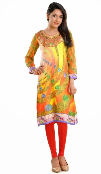 Jewel Prints Kurtis/Tights winter Fashion-14-15