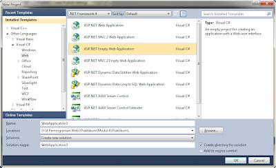 New Project Visual C# ASP NET Empty Web Application