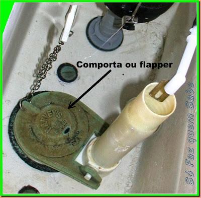 Comporta ou flapper de uma caixa acoplada de bacia sanitária.
