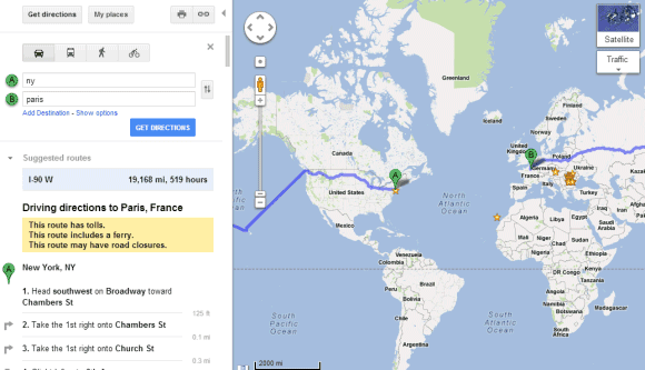 More Funny Directions in Google Maps