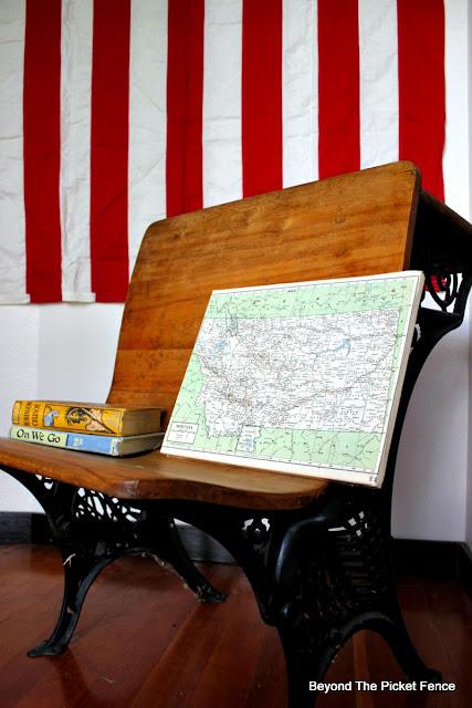 map, canvas, DIY, Modge Podge, vintage, schoolhouse, http://bec4-beyondthepicketfence.blogspot.com/2015/09/map-canvas.html  Automatic Permalink