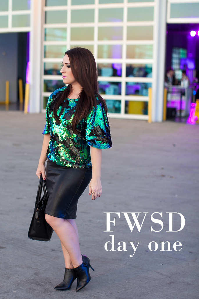 fashion week san diego outfit, sequin top, faux leather pencil skirt