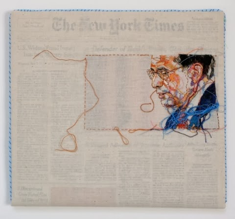 """Sewnnews - Aug 2007 New York Times"" embroidery art by Lauren DiCioccio"