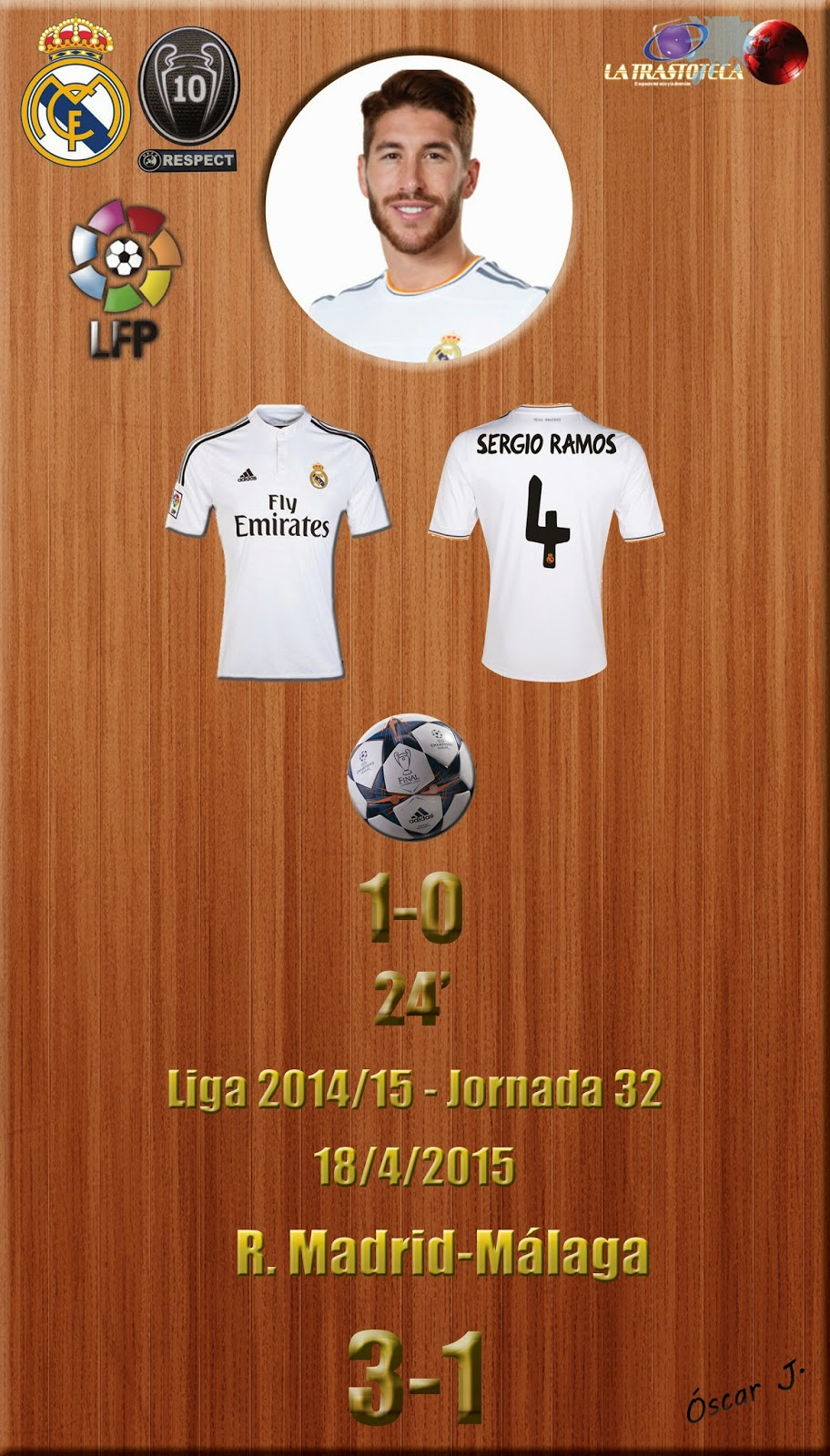 Sergio Ramos (1-0) - Real Madrid 3-1 Málaga - Liga 2014/15 - Jornada 32 - (18/4/2015)