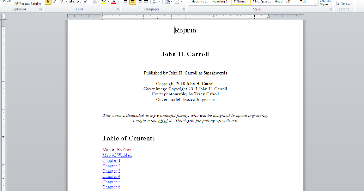 how to create table of contents in word 2012