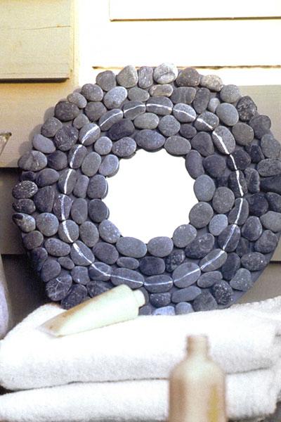 Adem s de la madera y las conchas marinas podemos utilizar - Como decorar un espejo sin marco ...