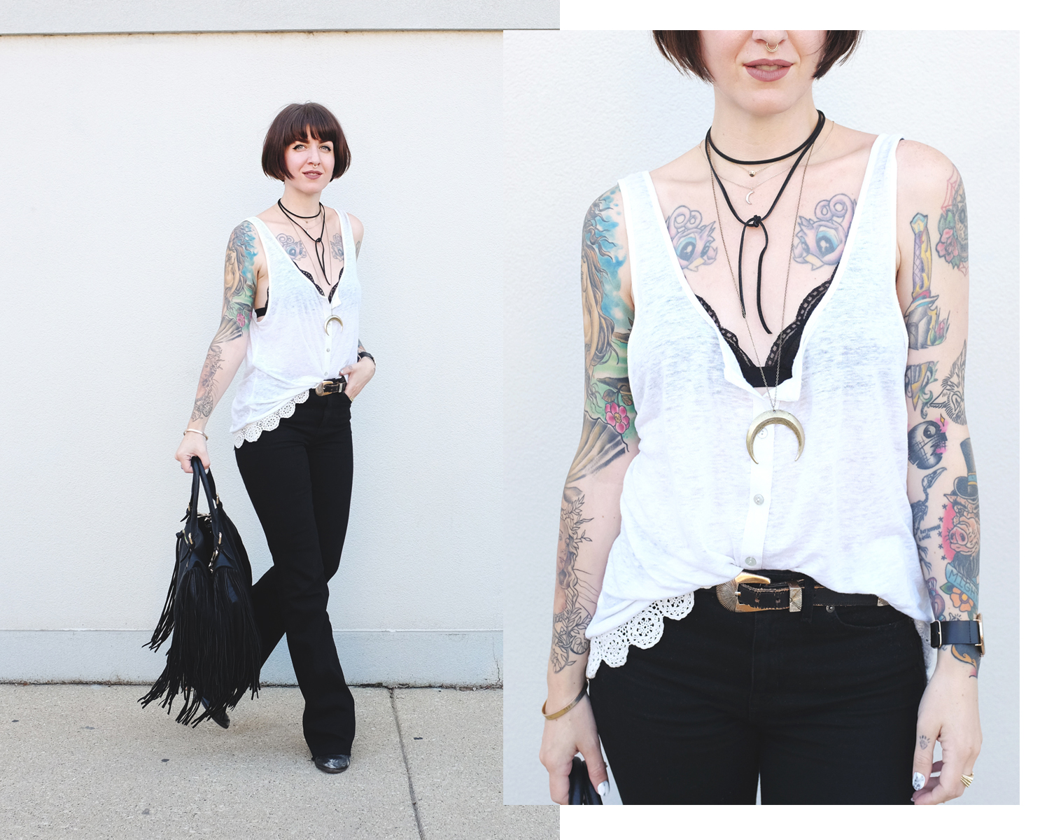 Leather Fringe Bag and Black Bell Bottoms - Mini Penny Blog