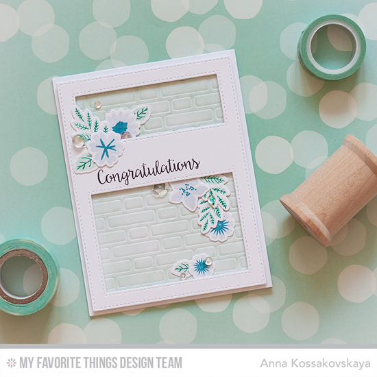 Lovely Congratulations Card by Anna Kossakovskaya featuring the Bling It On stamp set, the Mini Modern Bloom stamp set and Die-namics, and the Stitched Cover-up Companion - Vertical and Brick Wall Cover-Up Die-namics #mftstamps