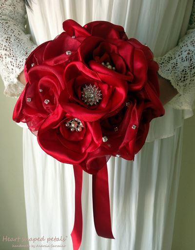fabric rhinestone brooch bouquet in red