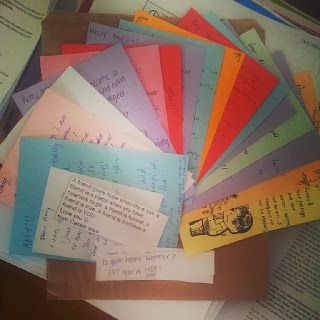 cute notes, colourful, paper notes, written compliments, anonymous stuff