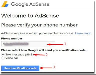 mobile number varify to adsense