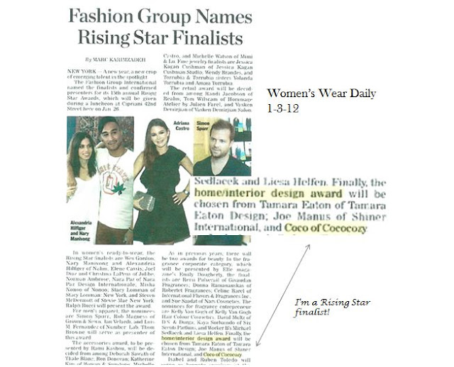 Newspaper clipping showing Nbaynadamas as a finalist for Home/Interiro Design in category for the Fashion Group International (FGI) Rising Star Award