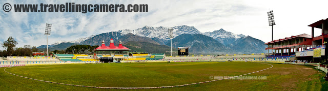 Tour de Dharmshala Stadium - A Quick PHOTO JOURNEY inside the beautiful stadium at Dharmshala, Himachal Pradesh : Posted by VJ SHARMA on www.travellingcamera.com : Last project with HPCA provided a good opportunity to explore interiors of Dharmshala Stadium !!! During the break time of T20 Mahasangram finals, I entered into the stadium to see all the VIP lounges, Team Dressing rooms and other special seatings on top floor !!! Check out the quick Photo Journey inside Dharmshala Stadium !!!Dharamshala Cricket Stadium is aonly cricket stadium of international reputation in Himachal Pradesh !!! It serves as the home ground to the Himachal Pradesh state cricket team and also for the IPL team Kings XI Punjab to a limited extent... By virtue of its natural backdrop (3/5th of the stadium is surrounded by snow covered hills...) it is one of the most attractive cricket stadiums in India.In addition to Ranji matches, some international matches are also planned to be held here.. Dharmshala Stadium is going to host threeIPL macthes in 2011 !!! In 2010, a match between Kings XI Punjab and Chennai Superkings held here in which His Holiness the Dalai Lama graced the match of the Indian Premier League (IPL) at the picturesque Himachal Pradesh Cricket Stadium in Dharamshala. The snow covered mountains can be easily viewed throughout the year.. On entering inside the stadium, there is a huge sitting area with lots of photographs of international cricketers from various parts of the world. And this included cricketers from oldest world cups as well !!! I am not sure how this space is utilized during international matches but on that day tea, snacks and lunch was served in this area...Chairs and Tables are well arranged to serve lunch after closing ceremony of Jaypee T20 Cricket Mahasangram !!! This is same hall on ground floor... Parallel to this hall, there are few VIP lounges which were closed on that day ! Seating arrangement inside looked like modern massage chairs :)Extended part 