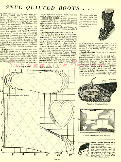 1950s sewing pattern free slippers booties quilting