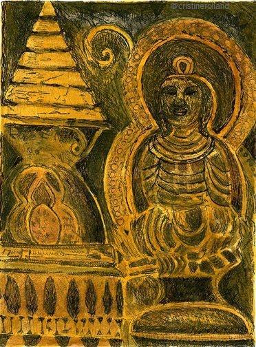 Chorten et bouddha