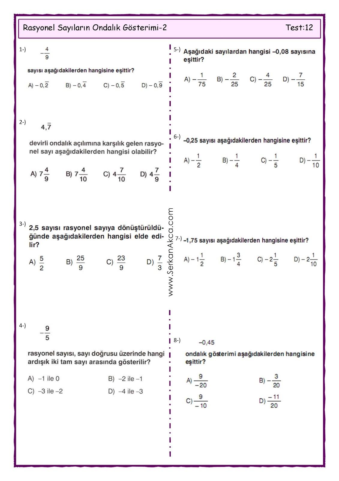 7sınıf Rasyonel Sayıların Ondalık Gösterimi 2 Serkan Akça Matematik