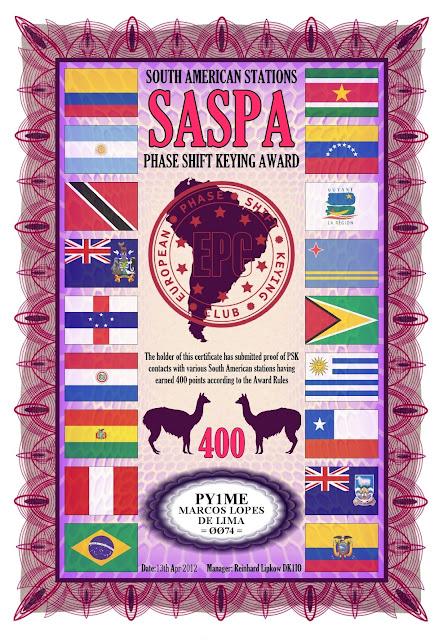 Foto do diploma SASPA 400 oferecido pelo EPC