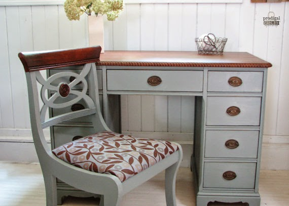 1920's Antique Desk & Upholstered Chair by Prodigal Pieces via http://www.prodigalpieces.com