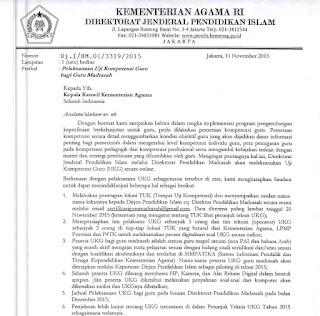 Surat Edaran Pelaksanaan UKG Bagi Guru Madrasah