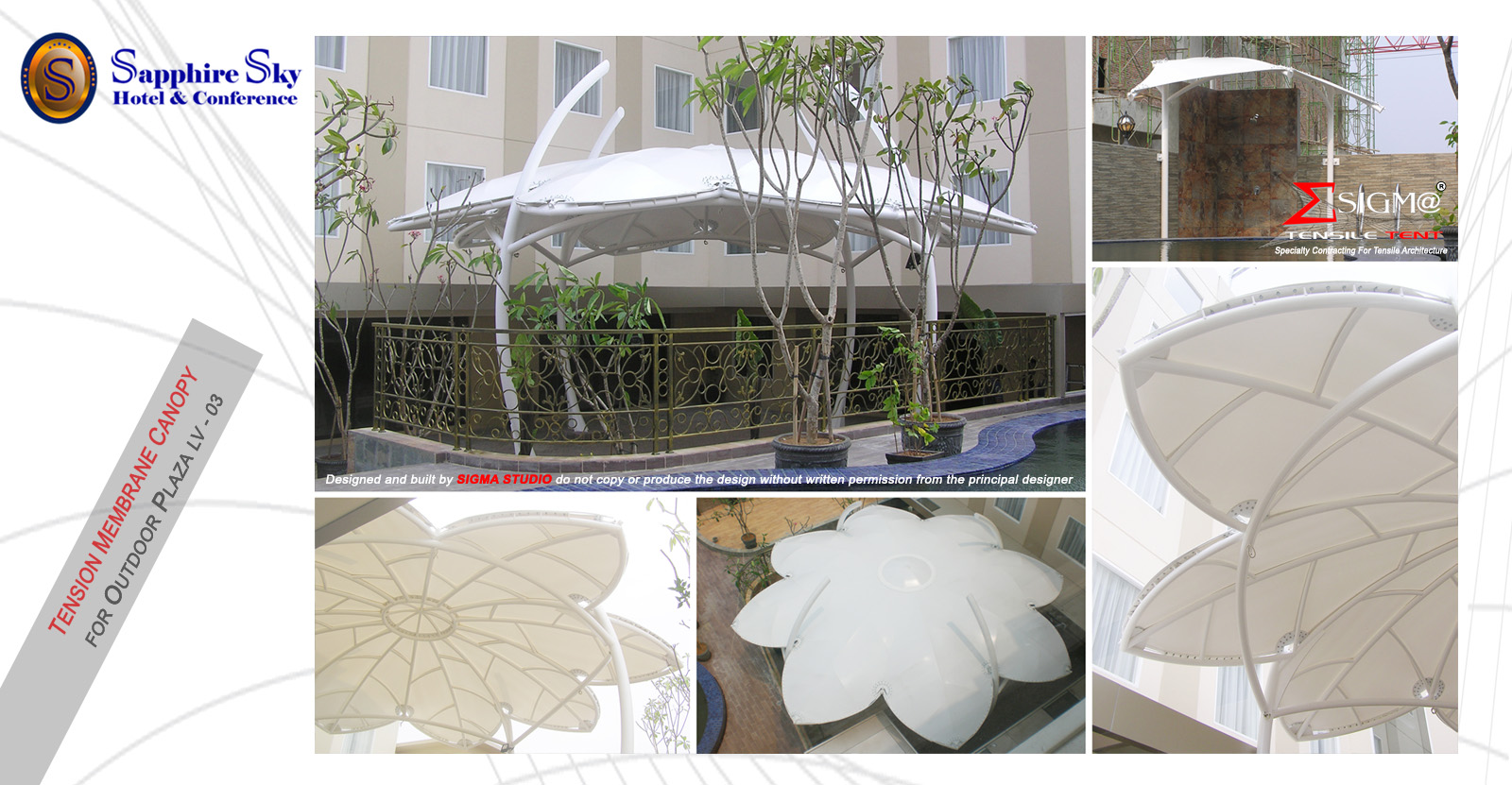 sapphire sky hotel tension membrane canopy for outdoor plaza - Marble Canopy 2015