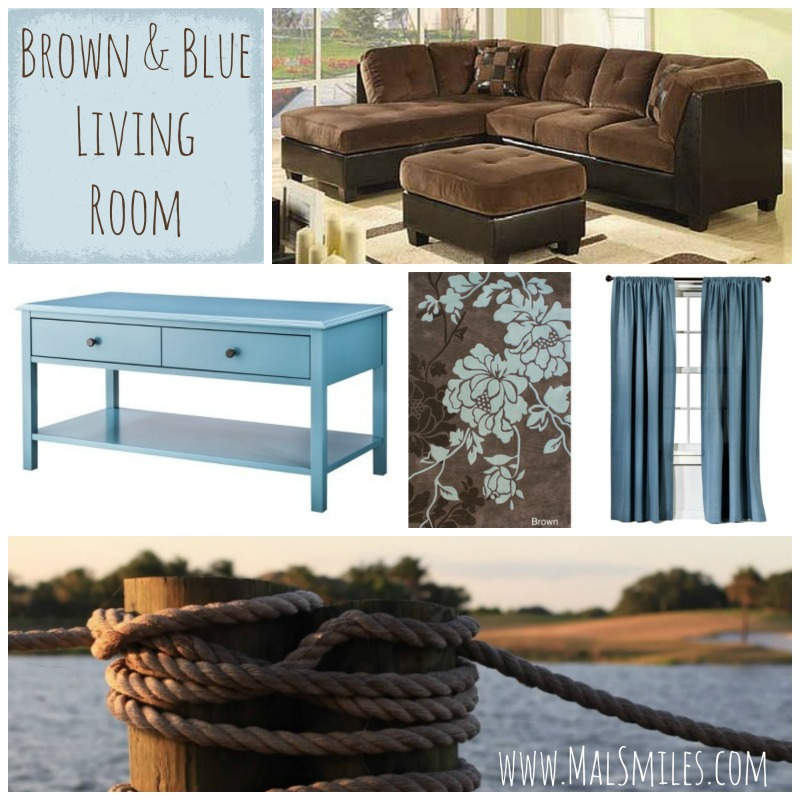 blue and brown living rooms all