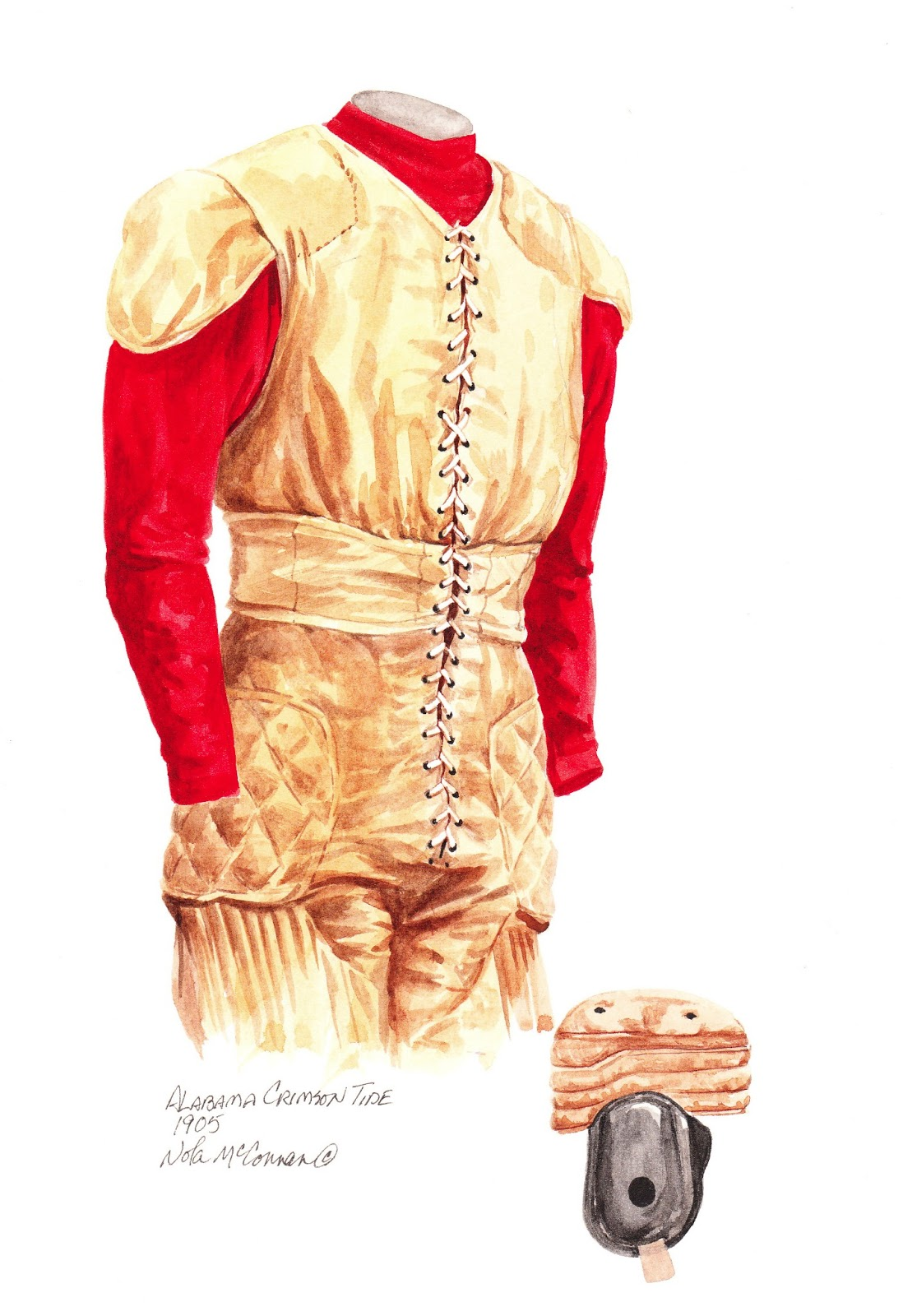 84b50b4c4 1905 Alabama Crimson Tide football uniform original art for sale