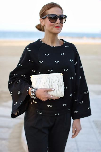 Kenzo eye print kimono sweatshirt, Miu Miu drape clutch, Fashion and Cookies, fashion blogger