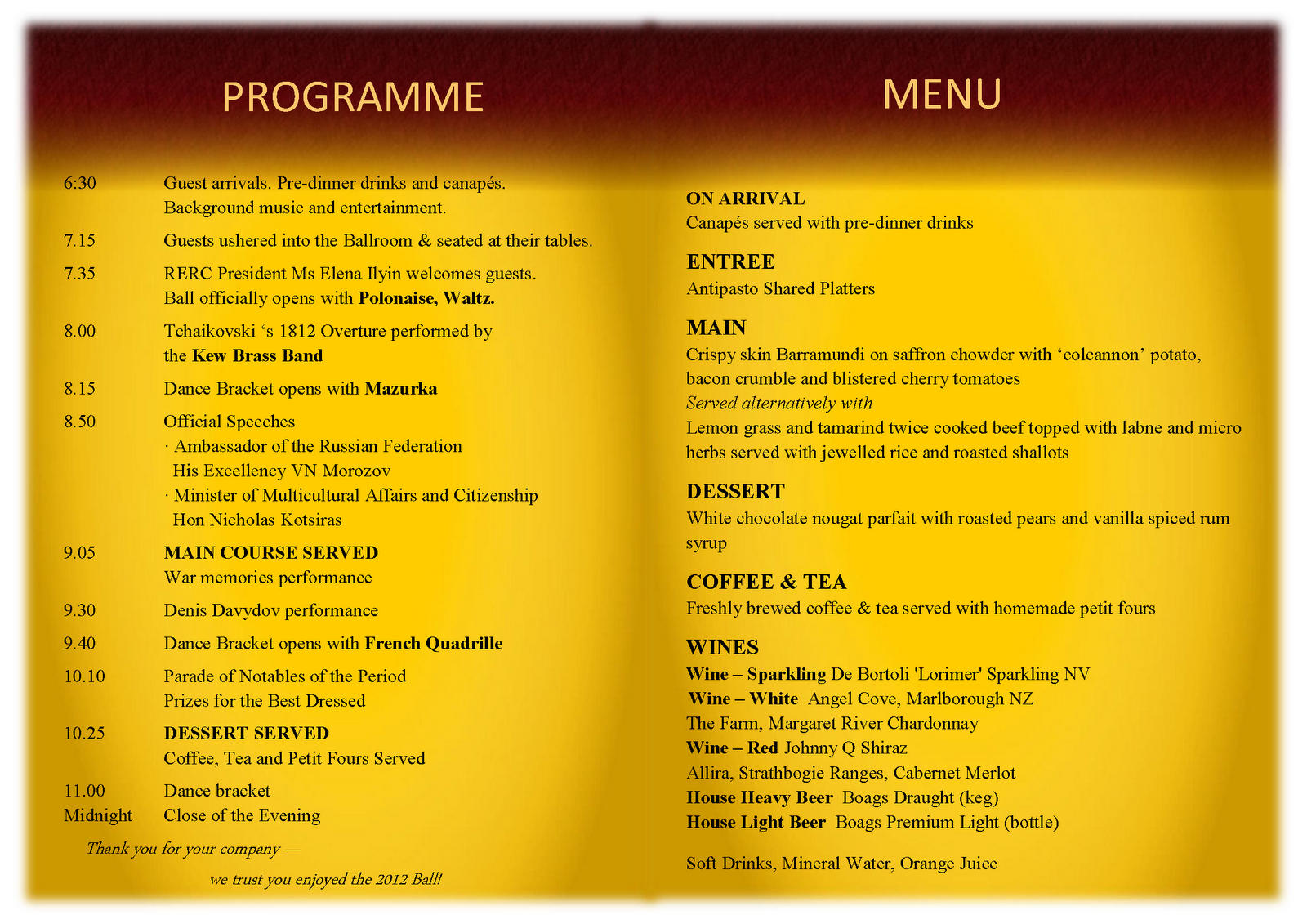 2012 war and peace grand ball programme